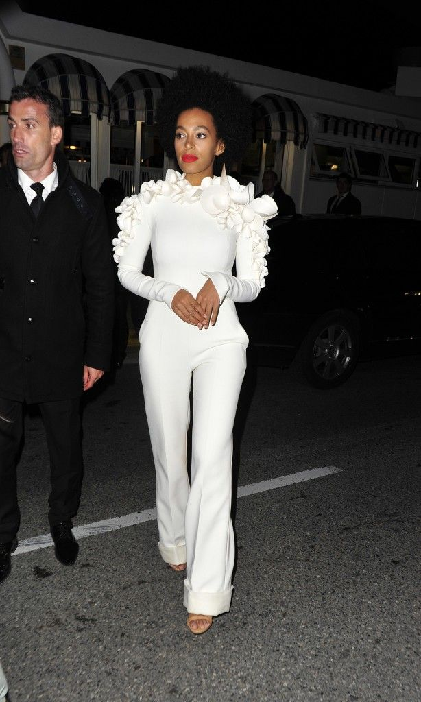 *Solange wore this Stéphane Rolland white frilled Haute Couture jumpsuit back at 2014 Cannes Film Festival