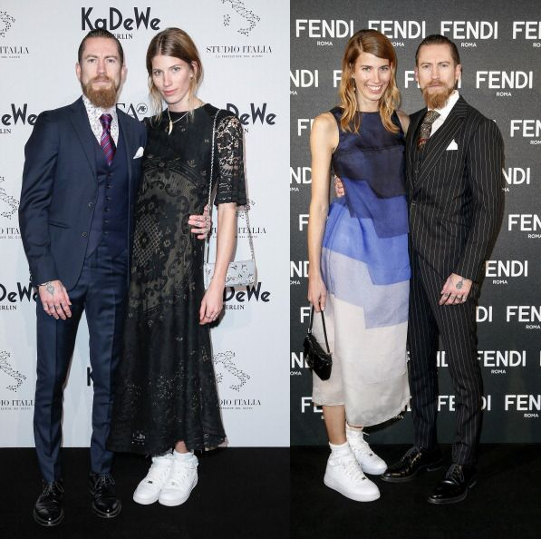 Heilbrunner and boyfriend Justin O'Shea at different red carpet events