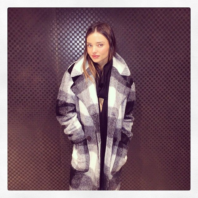 Miranda Kerr in a Rag & Bone cocoon coat