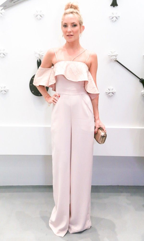 Kate Hudson at Miami Art Basel 2014 in a blush pink jumpsuit