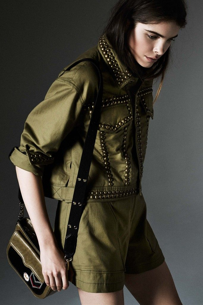 Rebecca-Minkoff-pre-fall-2015-embellished-army-green-jacket