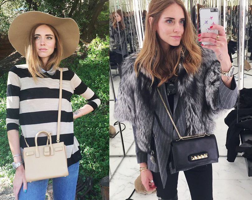 chiara-ferragni-saint-laurent-valentino-mini-bags-december-2014