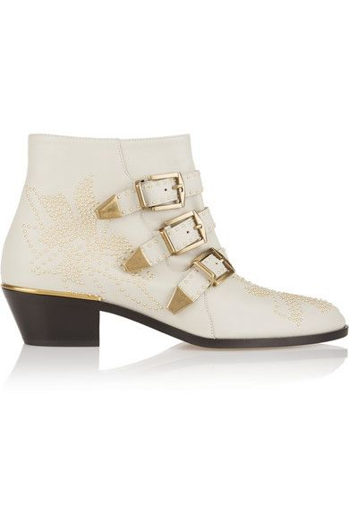 Chloé Susanna studded cashmere grey leather ankle boots available at NET-A-PORTER