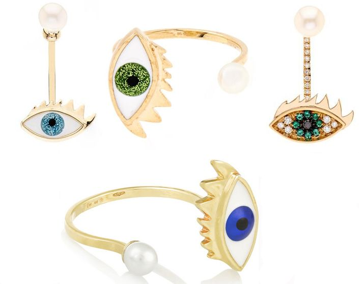 Delfina Delettrez Eye Earrings And Rings