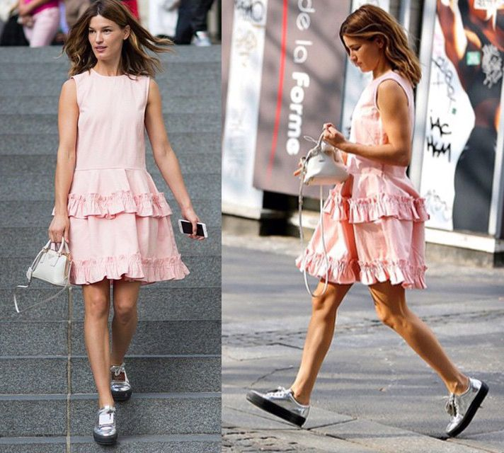 hanneli-mustaparta-in-simone-rocha-x-j-brand-pink-denim-dress-with-frill