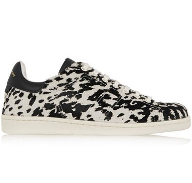 Isabel Marant black and white leopard-print calf haie sneakers available at NET-A-PORTER