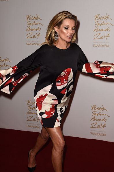 Kate Moss in the winners room at the British Fashion Awards at London Coliseum on December 1, 2014 in London, England