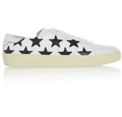 Saint Laurent Court Classic black star-appliquéd white leather sneakers available at NET-A-PORTER