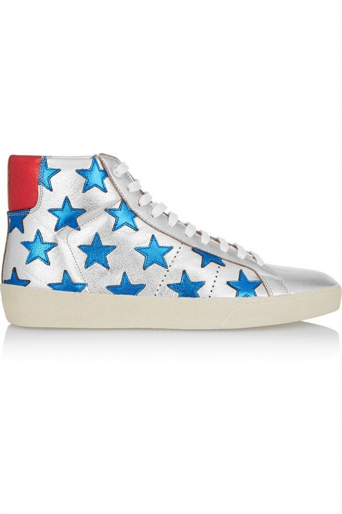 Saint Laurent Court Classic blue stars appliquéd silver metallic leather high-top sneakers available at NET-A-PORTER