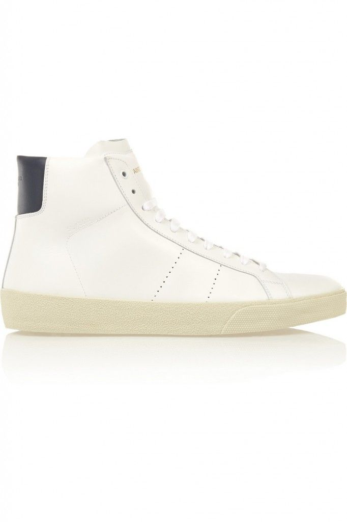 Saint Laurent Court Classic leather high-top sneakers detailed with a midnight-blue heel patch available at NET-A-PORTER