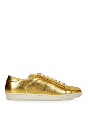 LAIA'S PICK: Ssaint Laurent Court Classic metallic gold leather low top trainers available at MATCHESFASHION.com