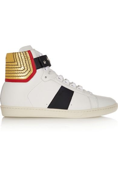 Saint Laurent Court Classic paneled leather high-top sneakers available at NET-A-PORTER