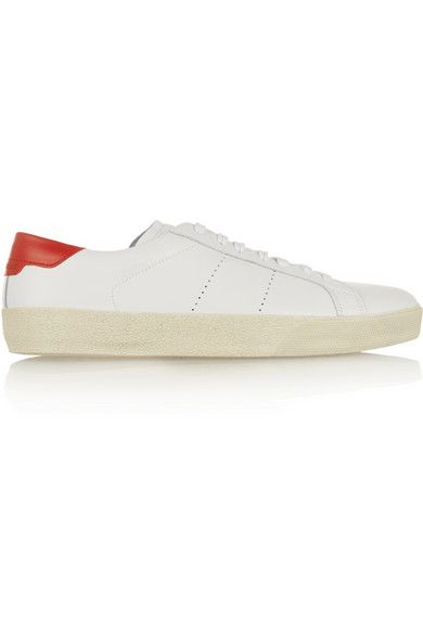 Saint Laurent Court Classic sneakers with perforayed stripes and cushioned red heel panel embossed with the label's logo available at NET-A-PORTER