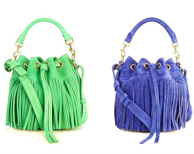 Small Emmanuelle suede bucket cross body bag available in green and in blue at MATCHESFASHION.com