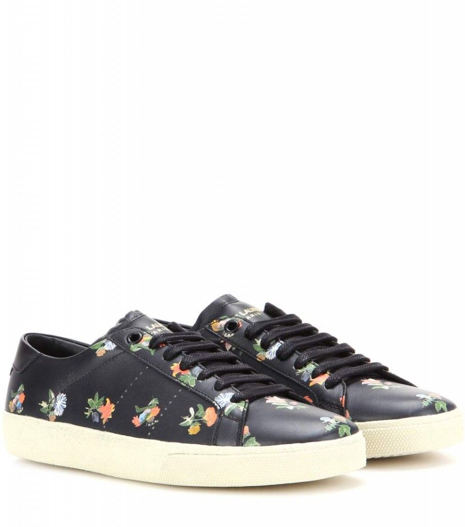 Saint Lurent Court Flower Printed black leather sneakers available at MYTHERES.com and LUISAVIAROM.com