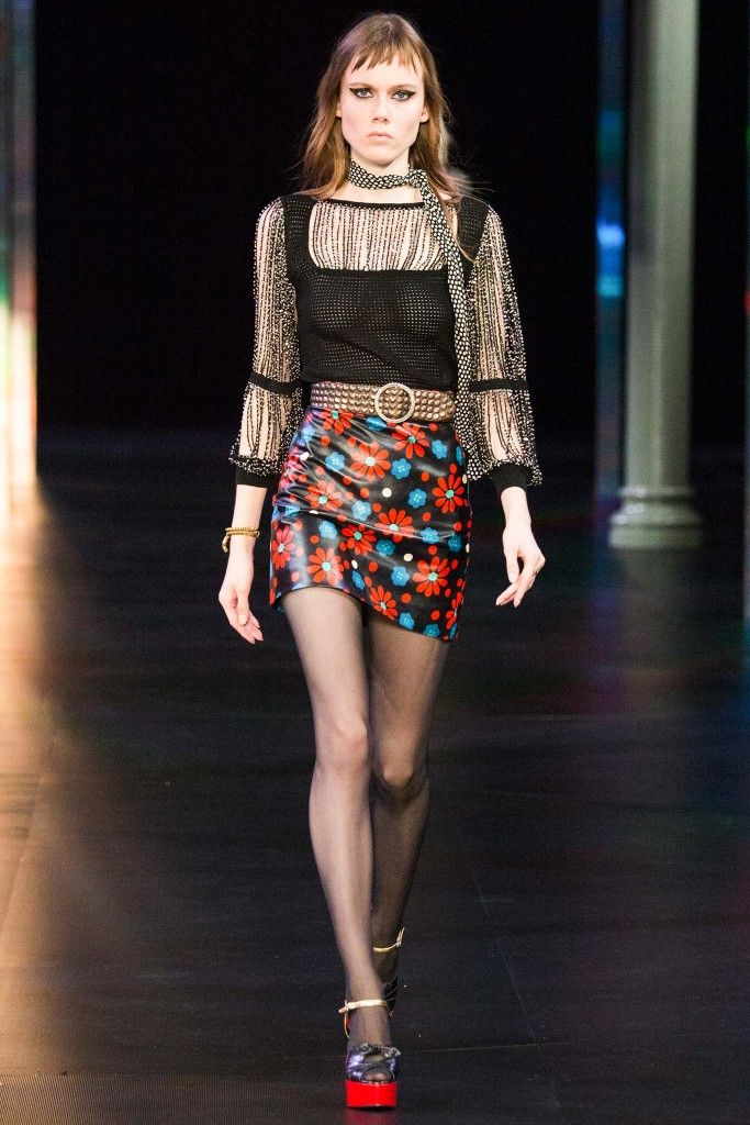 saint-laurent-ss15-embellished-knit-top-floral-printed-nappa-leather-mini-skirt