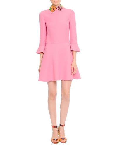 valentino-resort-2015-floral-leather-collar-pink-cady-dress