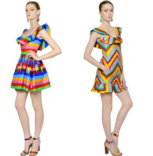 valentino-resort-2015-multicolored-striped-chevron-cotton-mini-dresses