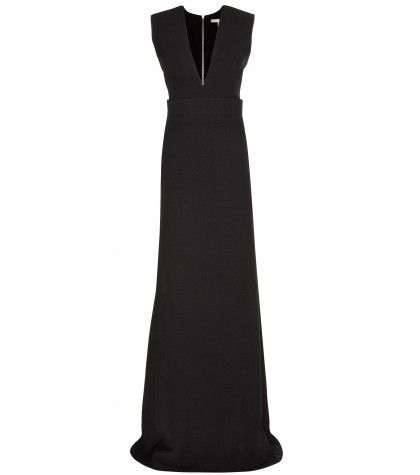 victoria-beckham-plunging-neckline-silk-and-wool-blend-gown