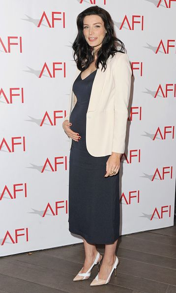 Jessica Paré looked quite pretty herself in a  Atea Oceanie dress and a Max Mara jacket.