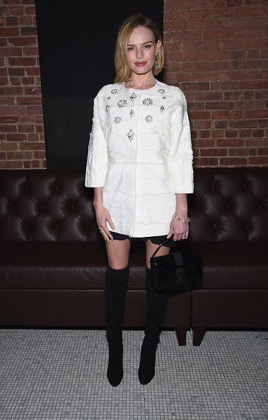 Kate changed her outfit to attend The Cinema Society with Montblanc and Dom Perignon screening of Sony Pictures Classics' 'Still Alice' after party at White Street Restaurant on January 13, 2015 in New York City.