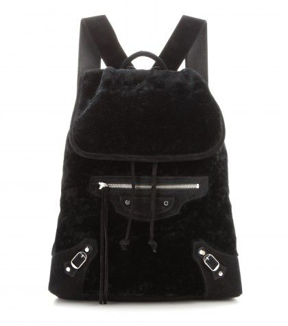 Balenciaga Classic Traveller shearling backpack available at NET-A-PORTER