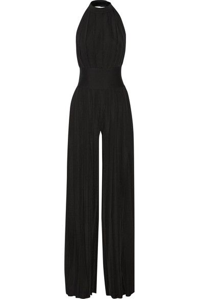 Balmain pleated black stretch-jersey jumpsuit available at NET-A-PORTER