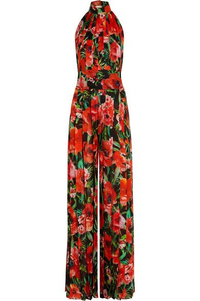 Balmain pleated floral-print silk jumpsuit available at NET-A-PORTER