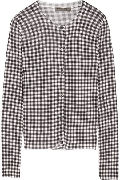 Bottega Veneta Gingham knitted cardigan