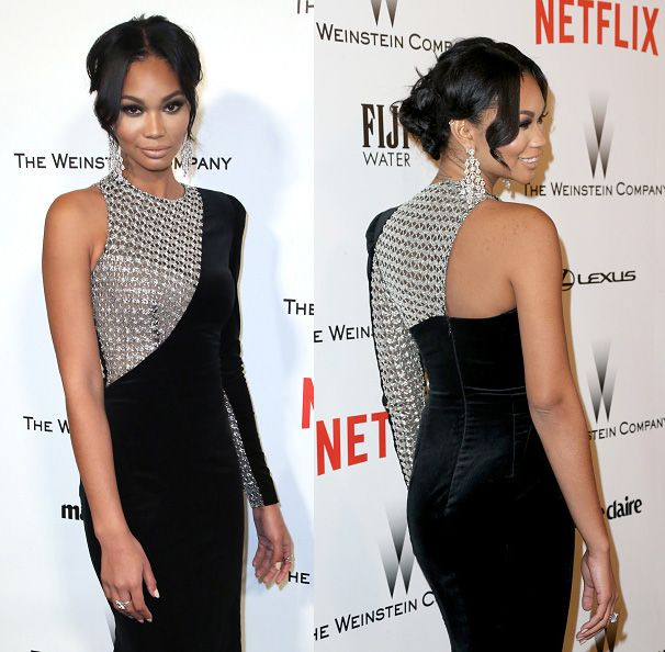 Chanel Iman at the 2015 Weinstein Company and Netflix Golden Globes After Party at Robinsons May Lot on January 11, 2015 in Beverly Hills, California.
