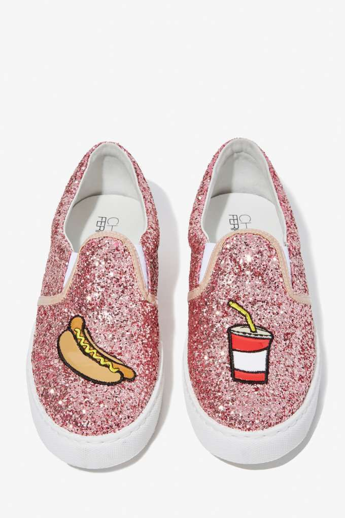 Pop N' Dog glitter slip-on sneakers available at NASTY GAL