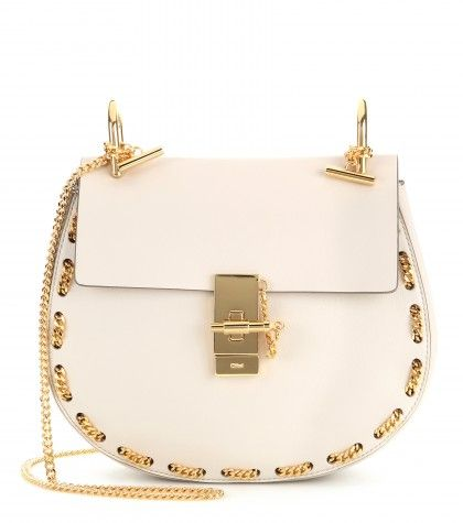 Chloé Drew gold chain embellished leather shoulder bag available at MYTHERESA.com