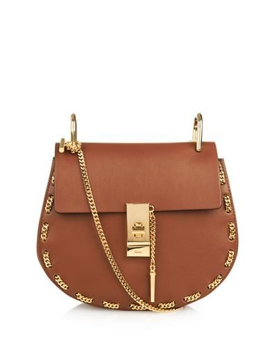 Chloe Drew mini threaded-chain shoulder bag in tan lamb leather available at MATCHESFASHION.com