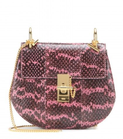 Chloé Drew pink and black snakeskin bag available at MYTHERESA.com