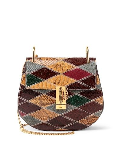 Chloé Drew Small python diamond-paneled bag available at NEIMAN MARCUS