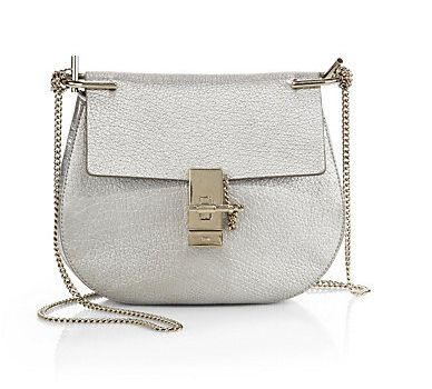 Chloé Drew silver metallic shoulder bag available at SAKS