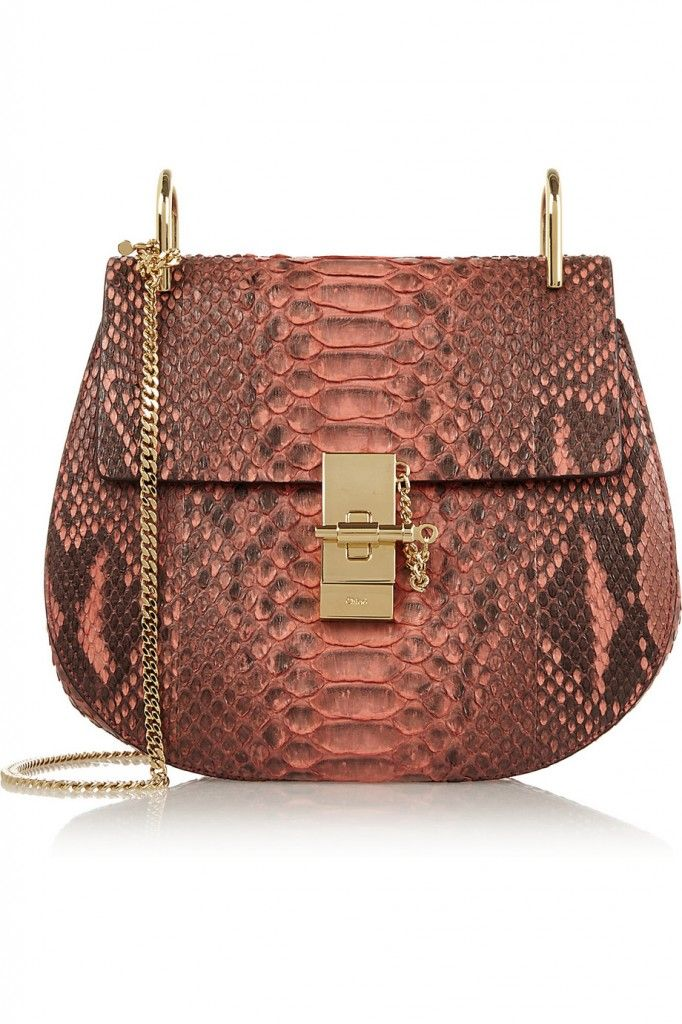 Chloé Drew small pastel-red python shoulder bag exclusive to NET-A-PORTER.com