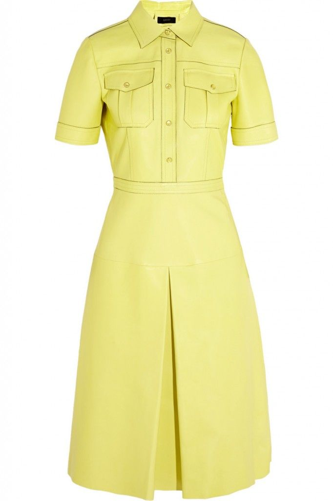 gucci-bright-yellow-leather-dress