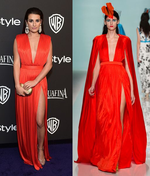 Lea Michele in Emanuel Ungaro SS15 at the Instyle/ and Warner Bros 72nd Annual Golden Globes Post-Party