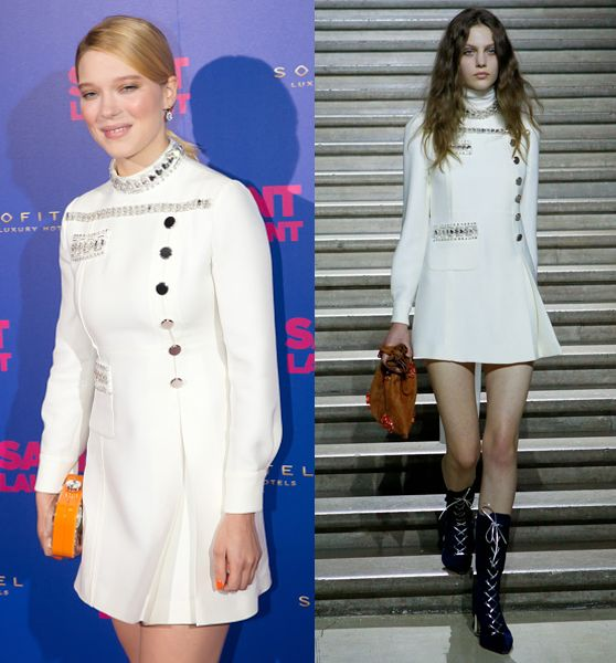Lea Seydoux in Mii Miu Resort 2015 at Saint Laurent première in Paris