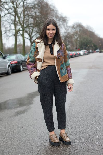 Natasha Goldenberg wearing a Celine sweater and Burberry jacket on day 4 of London Collections: Men on January 12, 2015 in London, England.