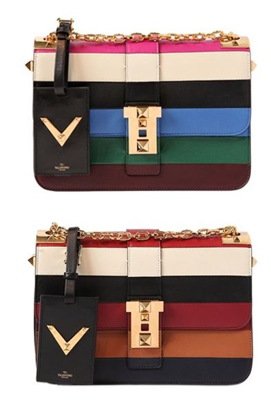 Valentino B Rockstud striped leather shoulder bag