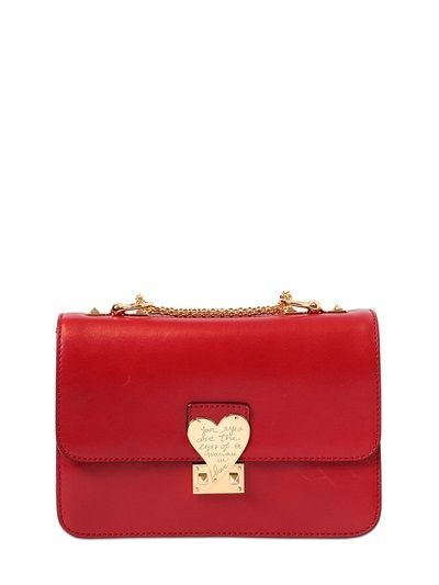 Valentino L'Amour polished red leather shoulder bag available at LUISAVIAROMA.com