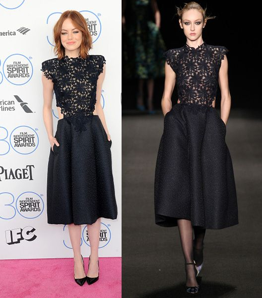 4- Emma Stone in Monique Lhuillier FW15