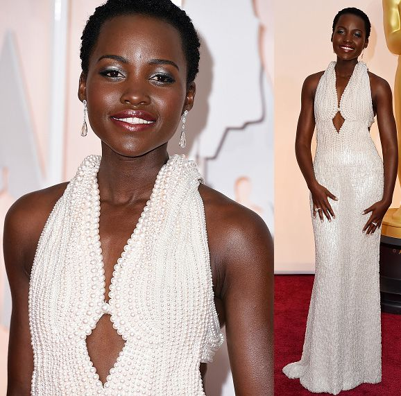 Lupita Nyong'o in custom Calvin Klein Collection by Narciso Rodriguez