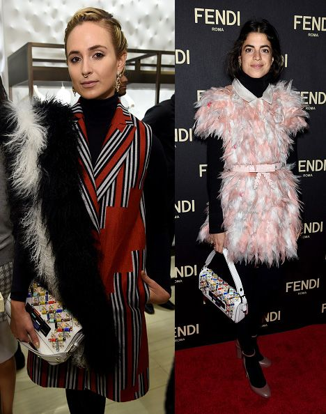 Elisabeth von Thurn und Taxis and Leandra Medine (in Fendi SS15, same dress Chiara Ferragni and Anna dello Russo previously wore in blue) carrying the same baguette bag