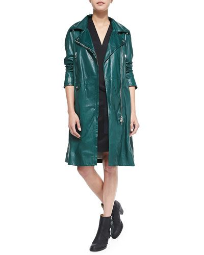 * How gorgeous is this Acne Studios green leather trench coat?