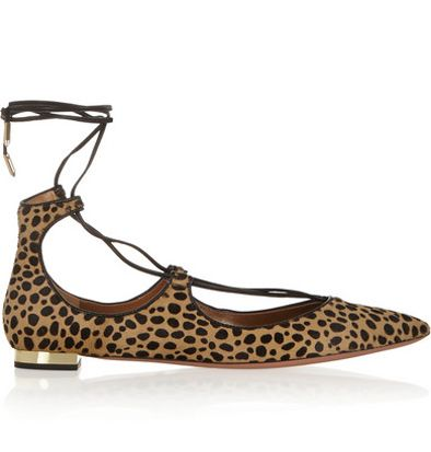 Aquazzura Christy leopard-print point-toe flats available at NET-A-PORTER