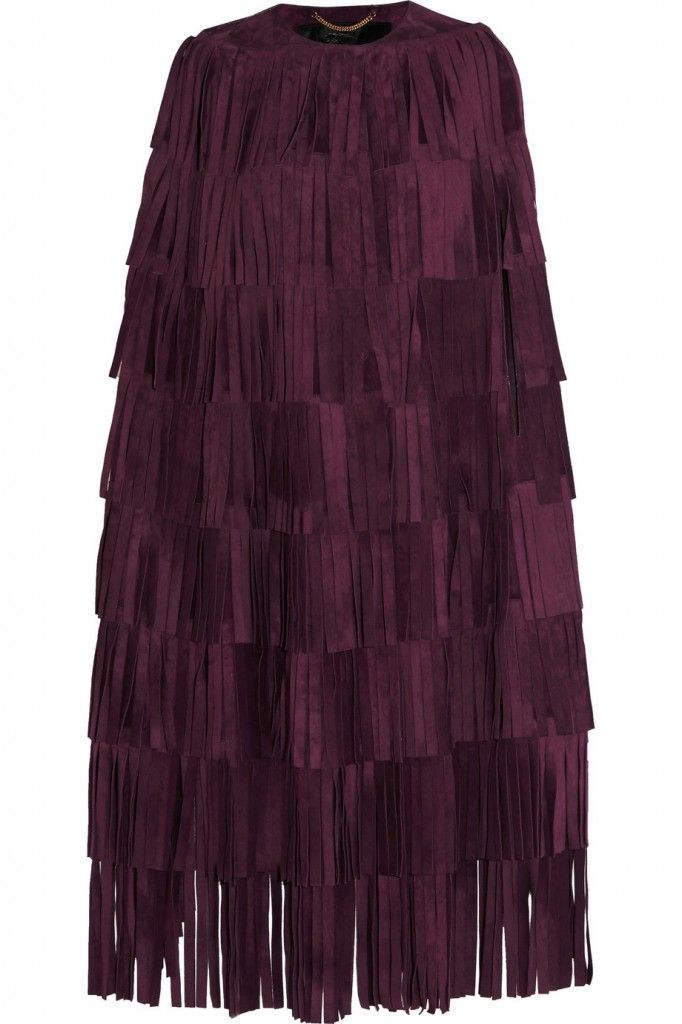 Burberry Prorsum burgundy suede fringed cape available at NET-A-PORTER
