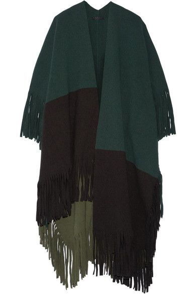 Burberry Prorsum forest green, dark brown and army green wool-blend felt fringed poncho available at NET-A-PORTER